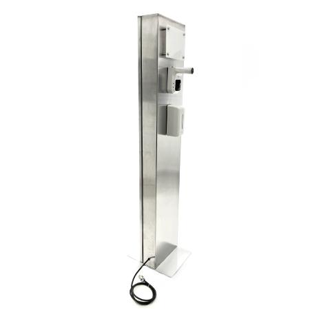Dispensador con termometro totem en acero inoxidable Explo